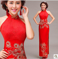 Wholesale chinese embroidery floor length halter Cheongsams women fashion Clothing Luxurious crystal party dresses