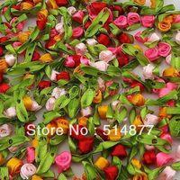 Wholesale 500pcs Small Satin Ribbon Flower Rose sewing wedding appliques U pick A062