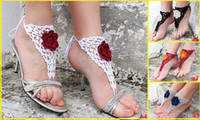 beautiful baby jewelry - 4 COLOR Beautiful flowers barefoot sandals Hand woven wool anklets Foot jewelry Sandals Beach Pool baby wear sale china pair