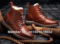 Wholesale Gleestep genuine leather winter wool warm snow boots martin boots tooling boots men outdoor hiking shoes