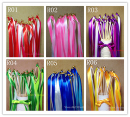 Wholesale of Wedding Color Ribbon Wands Wedding Confetti Stream Ribbon Sticks Wands with Bells and Metal End JCO RA03