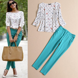 Wholesale Women Trousers Set Summer Fashion Printed Chiffon Shirt Top and Slim Skinny Pencil Pants Twinset
