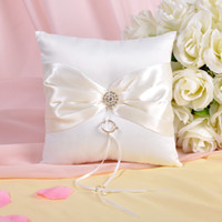 Wholesale New Ivory Bow Rhinestone Wedding Ceremony Satin Ring pillows Bearer Pillow Bridal