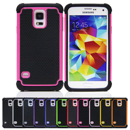 Wholesale In Stock Heavy Duty Impact Slim Armor Hard Case Cover Skin For Samsung Galaxy S5 i9600 Silicone Plastic Hybrid Cases Colors DHL Shipping