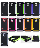 Wholesale In Stock Shock Proof Hybrid Heavy Duty Defender Case Cover For Samsung Galaxy S5 i9600 Dual Layer Silicone PC Cases Colors DHL Shipping