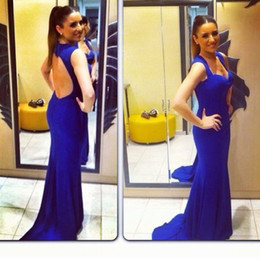 2020 Sexy Evening Dress Sweetheart Long Backless Royal Blue Mermaid Custom Celebrity Dress Party Gown Sexy Long Evening Gown