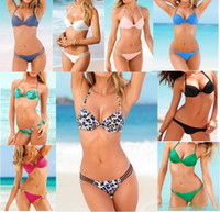Women Bikinis Dot swimwear 2014 women Two-Piece Separates swimming wear pad bathing suit tops tanga vestidos femininos bandeau colorful green black pin up