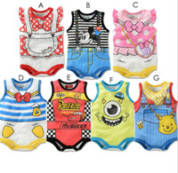 Wholesale newborn baby clothes set cartoon bow tie cotton toddler jumpsuits girls boys onesie bodysuit summer kids sleeveless outfits clothing set