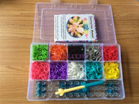 Wholesale Hot Rainbow Loom Charma kit Magical Colorful Loom Kit DIY Toys hard box Set with Mix Colour bands S C Clips and crochet hook
