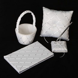 Wholesale Ribbon Collection Wedding Favors Gifts Accessories Piece Set ring pillow Flower Basket guest book pen set style