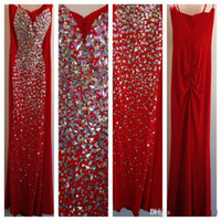 Reference Images Spaghetti Straps Chiffon Stunning 2014 Real Picture Evening Dresses Red Spaghetti Straps Colorful Rhinestones Beaded Sheath Sleeveless Long Chiffon Prom Gowns