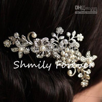 Wholesale IN STOCK Fashion Bridal Wedding Tiaras Stunning Fine Comb Bridal Jewelry Accessories Crystal Pearl Hair Brush