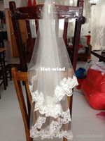 Wholesale Cheap Wedding lace Veil Ivory and Withe wedding accessory discount wedding petticoat two layers ribbon edge wedding dress w
