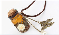 Wholesale Hot New Daisy Wishing Bottle Long Leather Cord Necklace Necklaces amp pendants