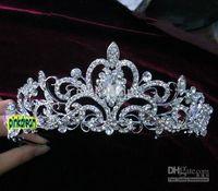 Tiaras&Crowns Rhinestone/Crystal  IN STOCK 2014 Bride's Crystals Pearl Hair Accessories Shining Wedding Bridal Crystal Veil Tiara Crown Headband Perfect Bridal Jewelry Cheap
