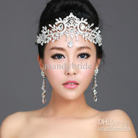 Wholesale IN STOCK Bride s Crown Stunning Swarovski Bridal Crystal Tiara Wedding Crown Hair Accessories CheapvProm Pageant Accessories