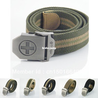 Wholesale Brand New HOT Fashion Stainless Steel Buckle Military Army Style Cross Mens Womens Boys Unisex Sports Jeans Webbing Canvas Belt