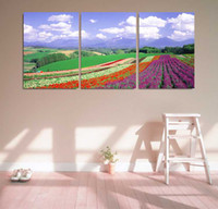 More Panel Digital printing Fashion Modern Painting Wall Décor 3 Panels High Q. Oil Painting on Canvas Field of flowers Photo Prints Art Pictures for Home Decor Ready to Hang