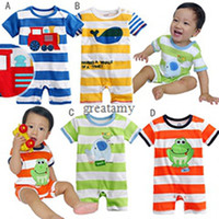 Wholesale short sleeve newborn baby boy cartoon bodysuits whale elephant frog and cars printed cute baby rompers toddler jumpsuits cotton kids outfits