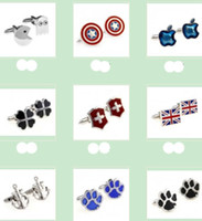 Wholesale pair style SilverTone Packman amp Ghost Clover anchors flags paws Novelty Men Shirt Cuff links jewelry cufflinks