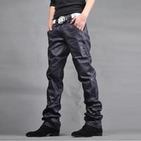 Wholesale Black leather jeans men Low waist Small straight pin Zipper Low waist New Styles Korean style