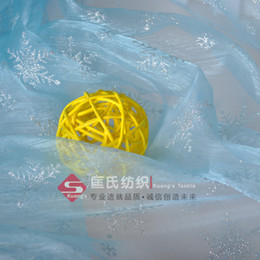 Wholesale Sky blue snowflakes organza fabric for Frozen Queen Elsa Cloak