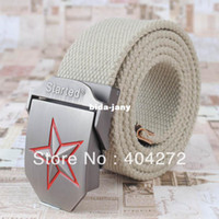 Wholesale 24 COLORS MEN SPORTS BELT CANVAS WEBBING STRAP RED STAR METAL AUTOMATIC BUCKLE