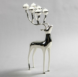 Silver plated deer shape metal candle holder, 6-arms candelabra with 6pcs free candles, decorative candle stick