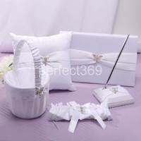 baskets suppliers - White Butterfly Wedding Guest Book Ring Pillow Pillows Pen Set Flower Basket bridal garter Garter Wedding Suppliers Favor Sets