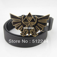 Wholesale The Legend of Zelda Triforce New Western Game Nintendo Men s Metal Belt Buckle with a PU black leather belt