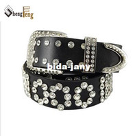 Belts belt strass - New Arrival New Fashion Punk Rock Rhinestone Genuine Real Leather Belts strass Buckle Mens and Women LZ001