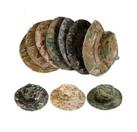 Wholesale Outdoor Fishing Camping Hiking Sun Cap Round Rim Cotton Vogue Camouflage Hat Jungle Sunscreen Unisex Hat