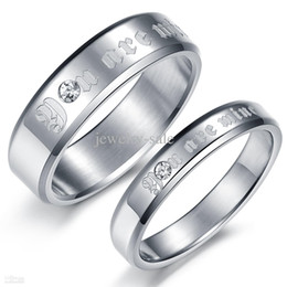 "Wholesale - DIAMOND WEDDING RING FOR COUPLES FASHION JEWELRY ""YOU ARE MINE"" STAINESS STEEL FINGER BAND SIZE 5 6 7 8 9 10 FREE SHIPPING 365"