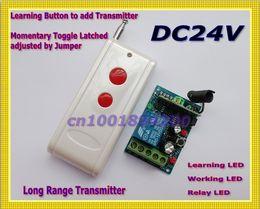 Control remoto 315 en venta-DC24V 1CH RF conmutador de control remoto 24v receptor transmisor inalámbrico controlador de control remoto relé LED aprender código de largo alcance 315 / 433MHZ