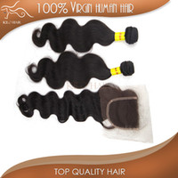 100g Brazilian Hair Natural Color Brazilian virgin hair bundle with lace closure 2pcs hair weft + 1pc top closure human hair weave 3pcs unprocessed hair extensions body wave