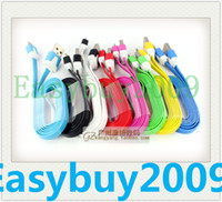 Wholesale 20pcs Micro usb Charger Cable Flat Noodle m ft Colorful Charging Data Sync Cords for Samsung Galaxy S3 S4 S5 I9600 Note Blackberry