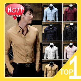 Wholesale 2014 New Men s Shirts Business Shirts Casual Slim Fit Stylish Hot Dress Shirts Color Colors Y3157