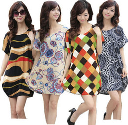 Wholesale 2014 Large size women s casual summer ice silk printed short sleeved maternity dress