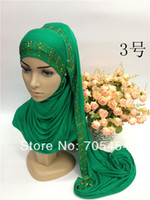 Wholesale SYF059 high quality rhinestones jersey cotton muslim long scarf islamic scarf arabic shawl fast delivery