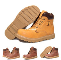 Wholesale 2014 Winter Keep Warm Men Fashion Boots Casual Sport Add Plush Snow Cotton Cow Leather Outdoor Work Safety YELLOW Short Shoes