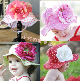 Wholesale Retail Children Girls Big Flower Bucket Hats Baby Toddler Cotton Fisherman Cap Sun Hats Girl Hat