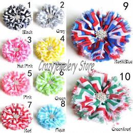 Multicolor Shabby Chiffon Flowers With Drill Fabric Cloth Diamond Flower For Headbands Hairpin Flowers Hair Accessories DIY Girl Headwear