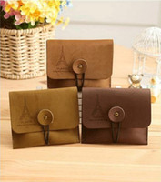 Wholesale women amp men vintage romantic eiffel tower suede leather wallet coin key purse coin bags reminisced coin purse