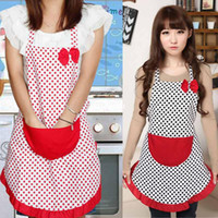 Wholesale 1pcs Women Cute Waterproof Apron Pocket Dot Polka Bowknot Princess Style Cook Kitchen