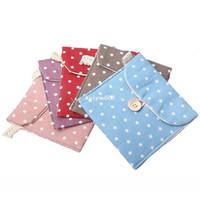 Fabric other Canvas 5pcs lot Free Shipping Korean Style Polka Dot Cotton Sanitary Napkin Bag Case Holder Organizer