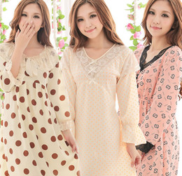 Wholesale women sleeping dress Woven cotton long sleeved pajamas large size nightgown sets M L five designs can choose