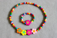 Acrylic Bracelet Child 48sets girls colored wooden bead necklace bracelet jewellery set MIXED CUTE WOOD BEADS NECKLACE BRACELET SET New Baby Kids Gifts