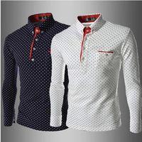 Cotton Cardigan Hoodies,Sweatshirts Free shipping men's long sleeve turn-down collar polo shirt(Wave point pattern) turn-down 100% cotton tee.size M-XXL