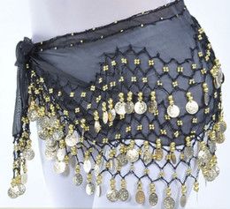 Wholesale 13 Colors Rows Gold or silver Coins Belly Egypt Dance Hip Skirt Scarf Wrap Belt Costume