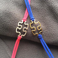 Charm Bracelets autism jewelry wholesale - Jewelry bracelet Puzzle Piece and Autism Awareness Bracelet in Silver JigSaw Puzzle charm bracelet Graduation Friendship